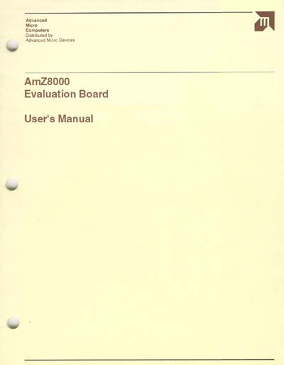AMD AmZ8000 Evaluation Board User's Manual