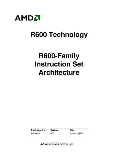 Technical writer amd ati r600 gpu isa manual for R language architecture