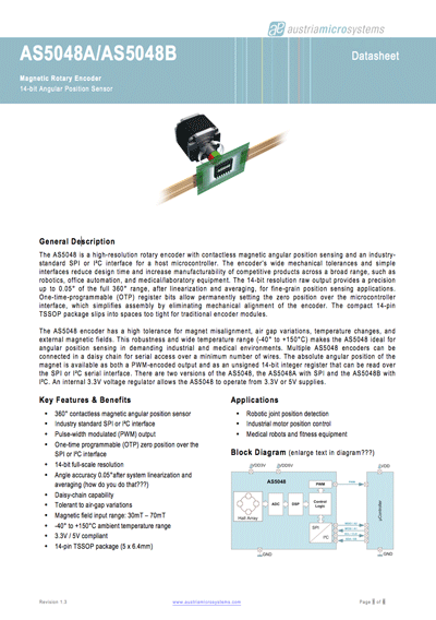 AMS AS5048 Magnetic Rotary Encoder Datasheet
