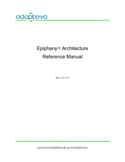 Adapteva Epiphany Architecture Reference Manual