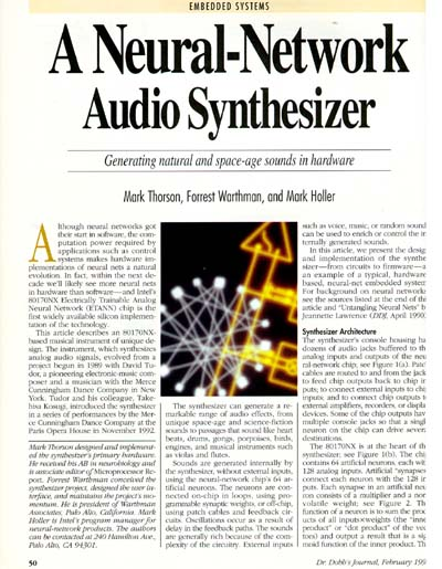 Dr. Dobbs Magazine: A Neural-Network Audio Synthesizer
