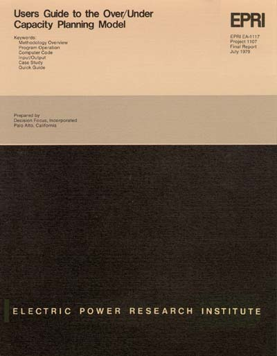 Electric Power Research Institute (EPRI) User's Guide to the Over/Under Capacity Planning Model