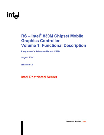Technical Writer, Intel 830M Chipset Mobile Graphics Manual
