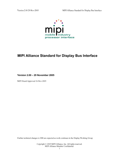 MIPI Alliance Standard for Display Bus Interface