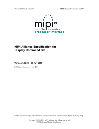 MIPI Alliance Specification for Display Command Set