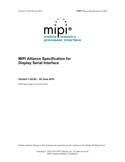MIPI Alliance Specification for Display Serial Interface
