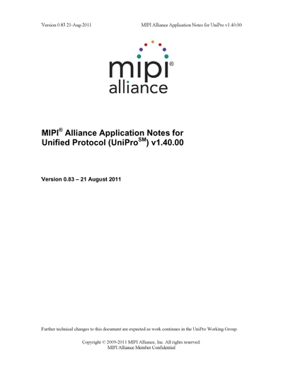 MIPI Alliance Application Notes for Unified Protocol (UniPro)