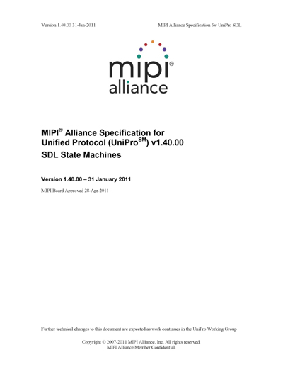MIPI Alliance Specification for Unified Protocol (UniPro) SDL State Machines