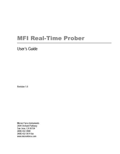 Micron Force Instruments (MFI) Real-Time Prober User's Guide