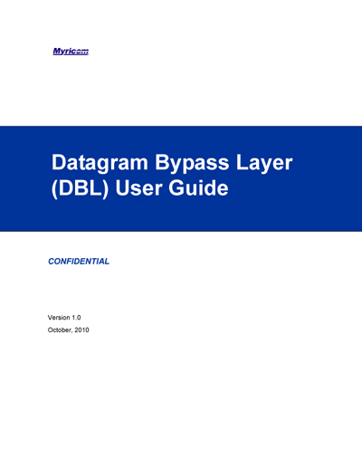 Myricom Datagram Bypass Layer (DBL) User Guide