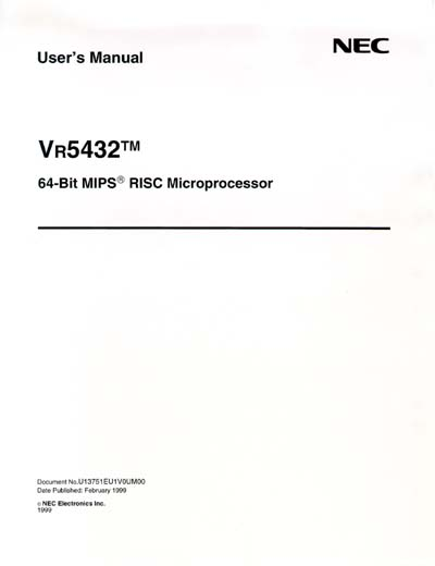 NEC VR5432 MIPS Processor User's Manual