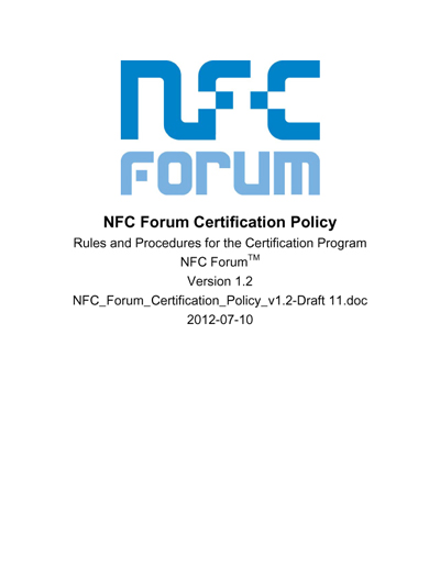 NFC Forum Certification Program Policy