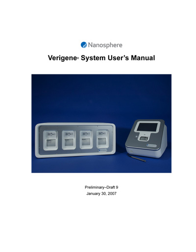 Nanosphere Verigene Molecular Diagnostics System User's Manual