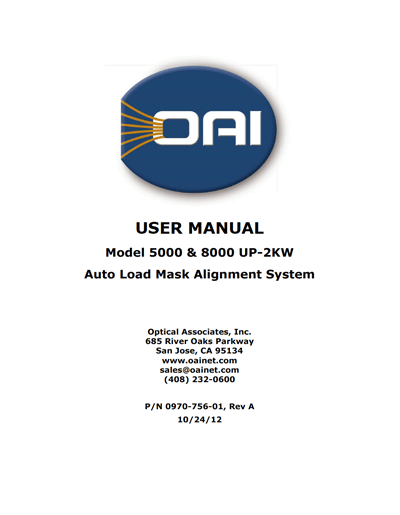 OAI Model 5000 and 8000 Auto-Load Mask Alignment System User Manual