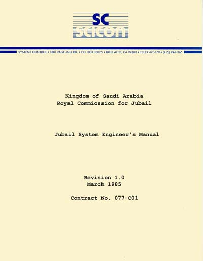 Saudi Consolidated Electric SICON Jubail System Engineer's Manual