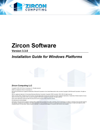 Zircon Software Installation Guide for Windows