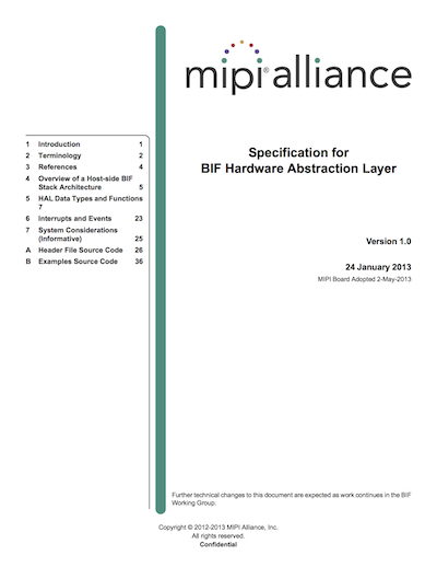 MIPI Alliance Specification for BIF Hardware Abstraction Layer (HAL)