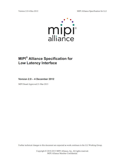 MIPI Alliance Specification for Low Latency Interface (LLI)