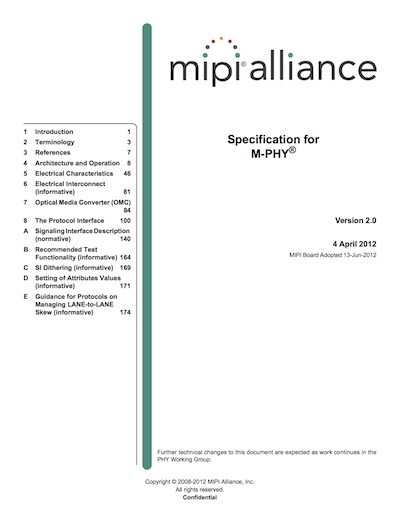 MIPI Alliance Specification for M-PHY v2.0