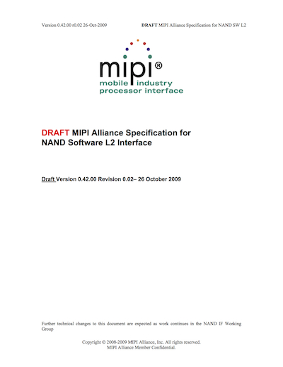 MIPI Alliance Specification for NAND Software L2 Interface